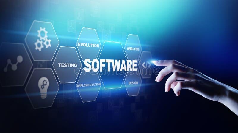 Автоматизация разработки программного обеспечения и бизнес-процесса, интернет и концепция технологии на виртуальном экране иллюстрация штока