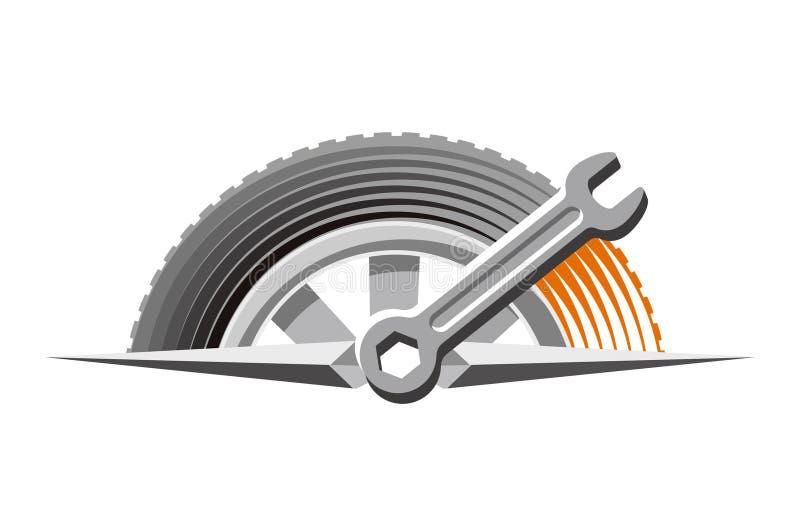 автоматическая ремонтная мастерская логоса иллюстрация штока