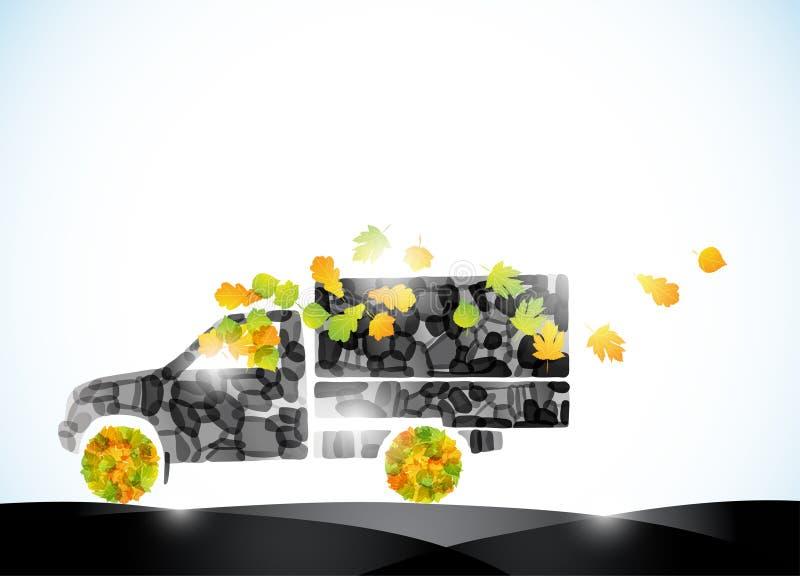 автоматическая тележка перемещения листьев идеи экологичности eco автомобиля осени иллюстрация вектора