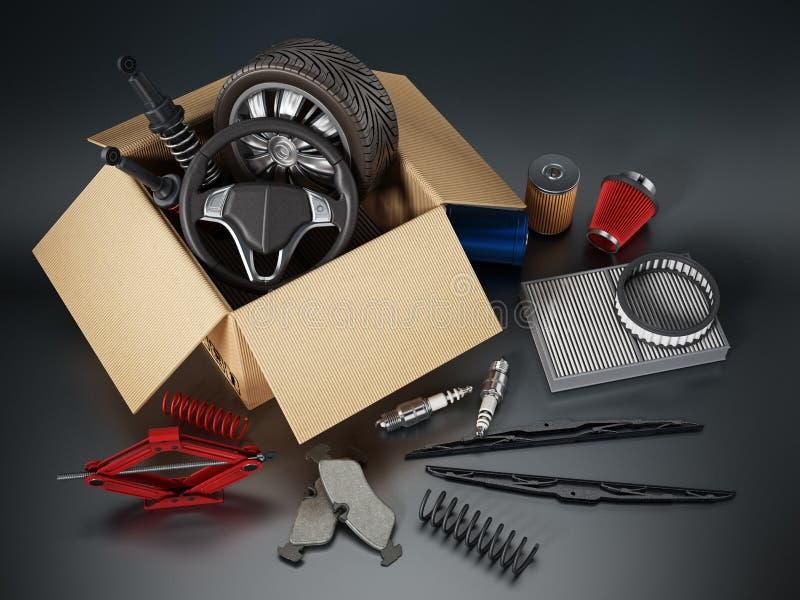 Автоматические запасные части стоя на черной предпосылке иллюстрация штока