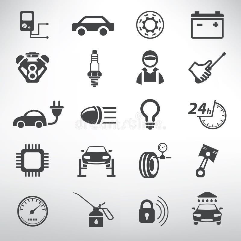 Автоматические установленные иконы обслуживания иллюстрация штока