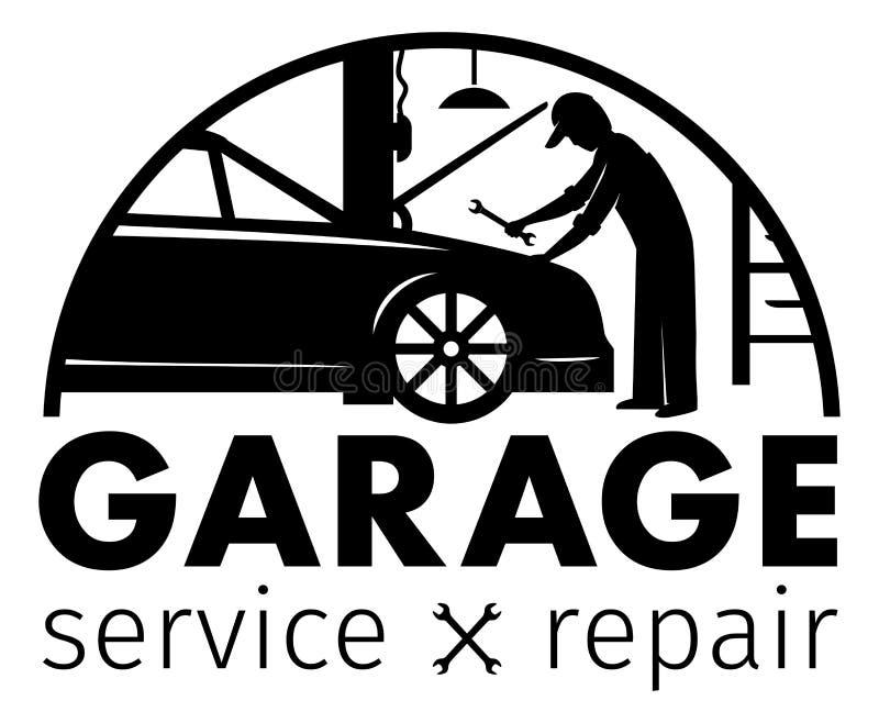 Автоматические центр, обслуживание гаража и логотип ремонта, шаблон вектора бесплатная иллюстрация
