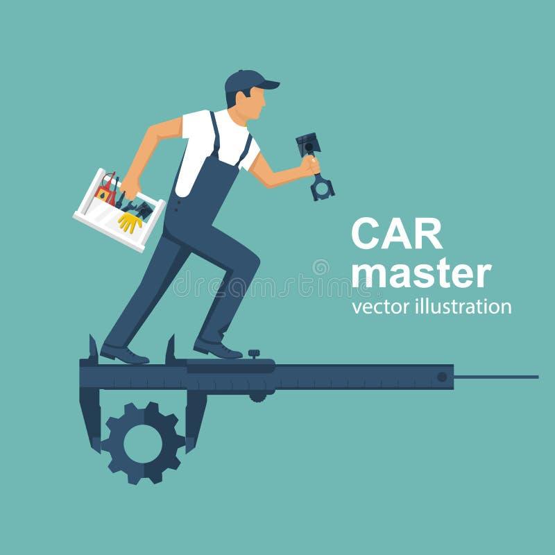 Автоматический механик с toolbox и запасные части для ремонта автомобилей иллюстрация штока