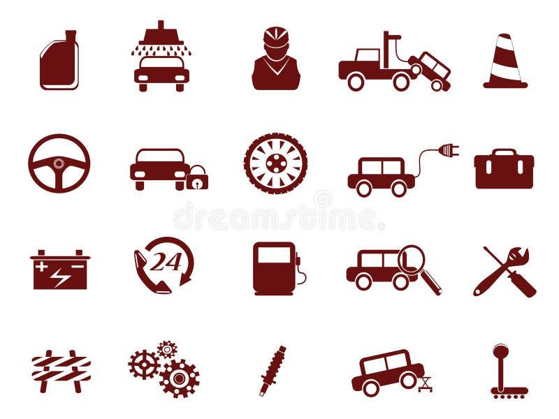 автоматическое обслуживание иконы автомобиля иллюстрация вектора