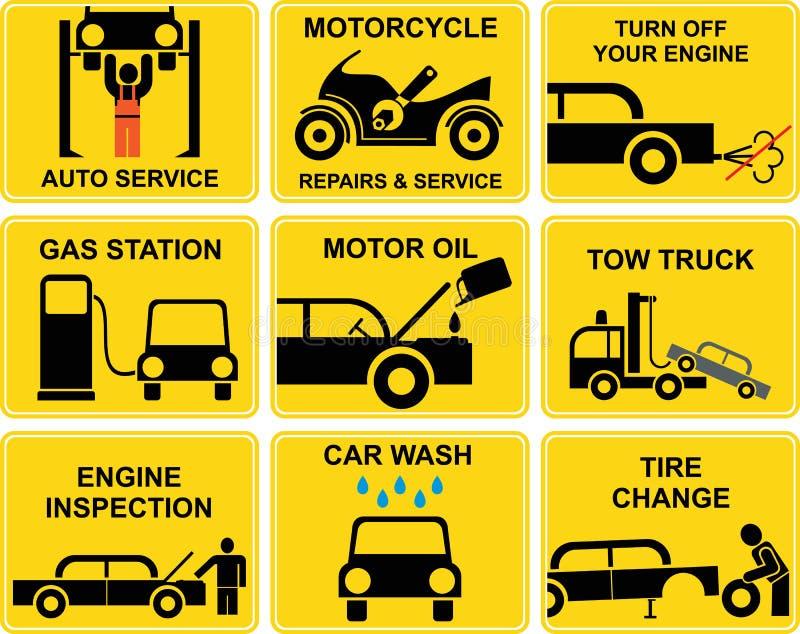 автоматическое обслуживание икон автомобиля бесплатная иллюстрация