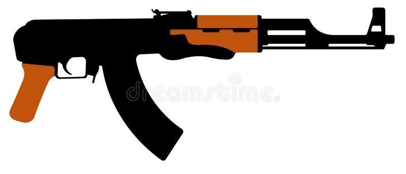 Автомат Калашниковаа штурмовой винтовки, пулемет AK-47 Иллюстрация вектора силуэта иллюстрация штока