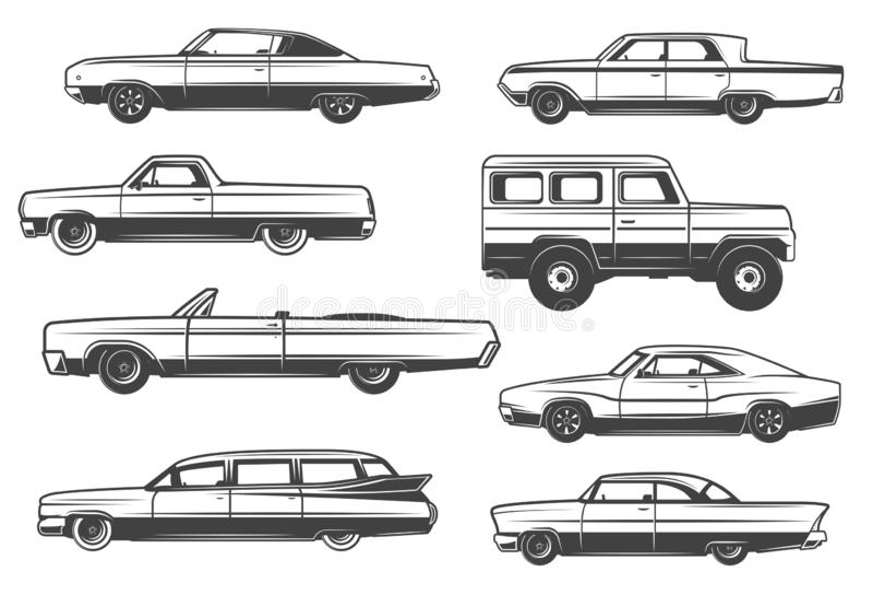 Автомобили вектора ретро и винтажные автомобили редкости иллюстрация штока