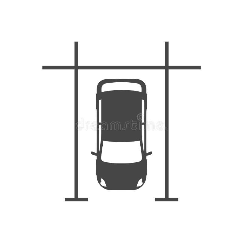 Автомобили в месте для стоянки, паркуя значке иллюстрация штока