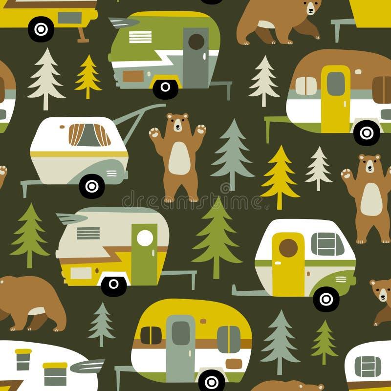 Автомобили, медведи и древесины винтажного вектора располагаясь лагерем иллюстрация вектора