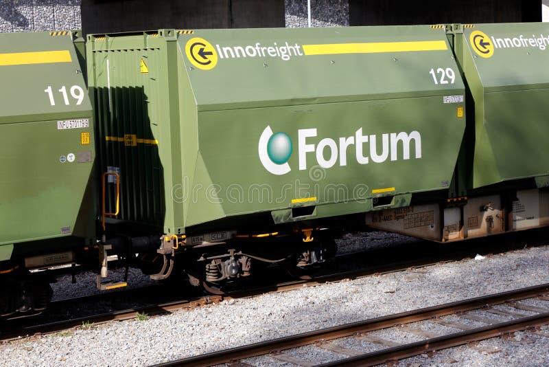 Автомобили перехода топлива деревянных щепок Fortum стоковое фото rf