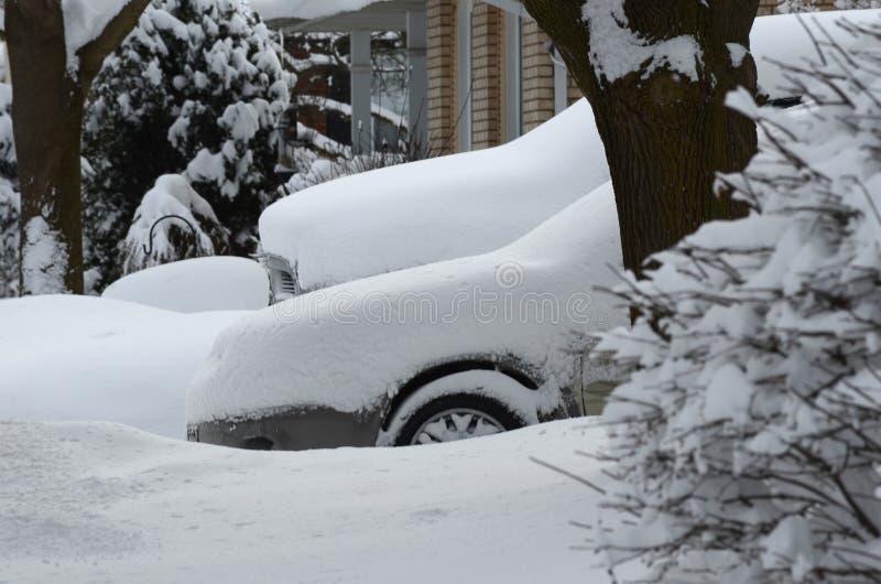 Автомобили похороненные в сильном снегопаде в жилом районе в канадском городе стоковые фото
