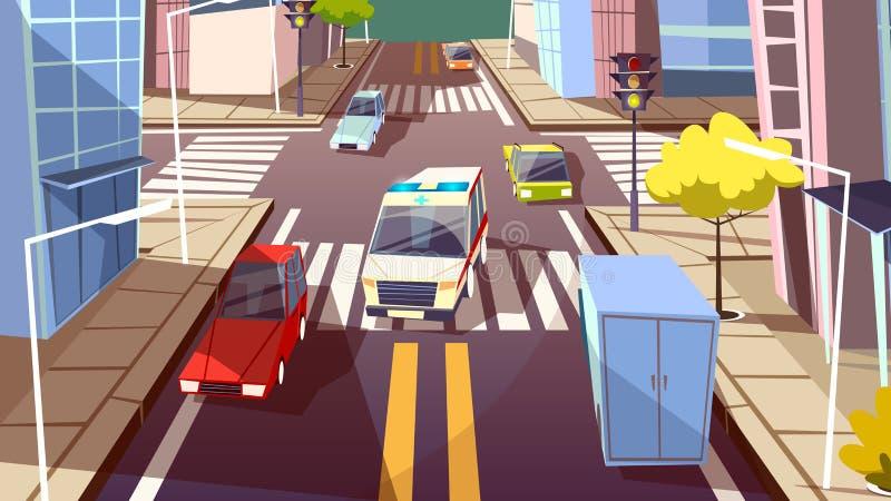 Автомобили улицы города vector иллюстрация шаржа вождения автомобиля машины скорой помощи на майне движения городского транспорта иллюстрация вектора