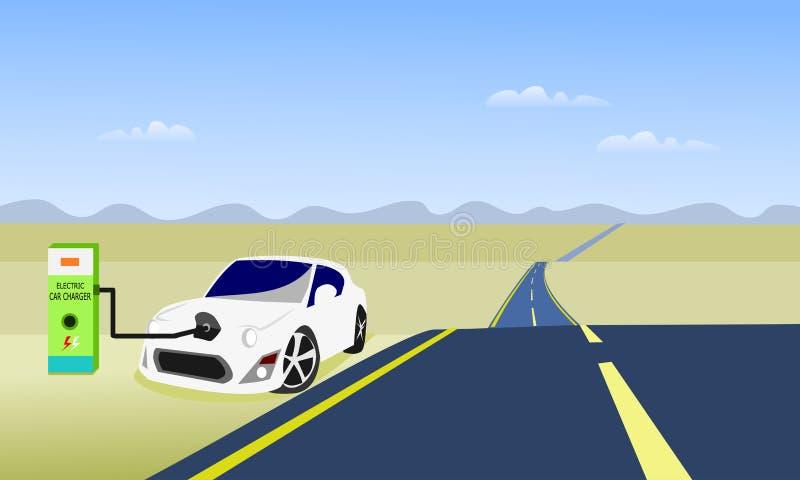 Автомобили электричества припаркованы для батарей диаграммы Дорога и небо как предпосылка иллюстрация штока