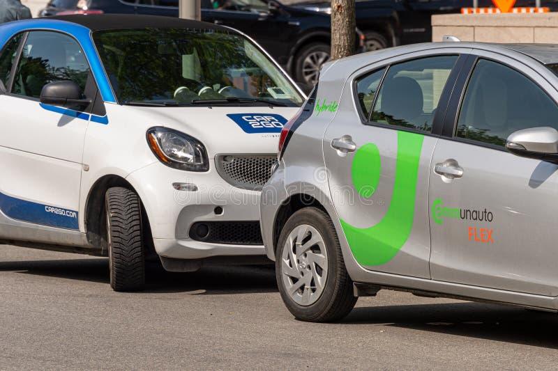 Автомобили Communauto Flex и Car2Go стоковое изображение