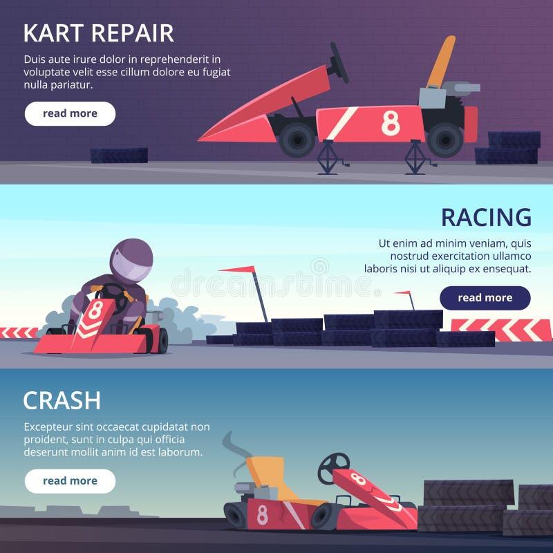 Автомобили Karting Знамена с изображениями спорта скорости быстро karting участвующ в гонке изображения мультфильма вектора автом иллюстрация штока