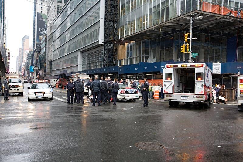 Автомобильная авария полицейской машины в Нью-Йорке стоковая фотография