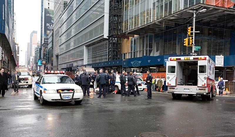 Автомобильная авария полицейской машины в Нью-Йорке стоковое фото rf
