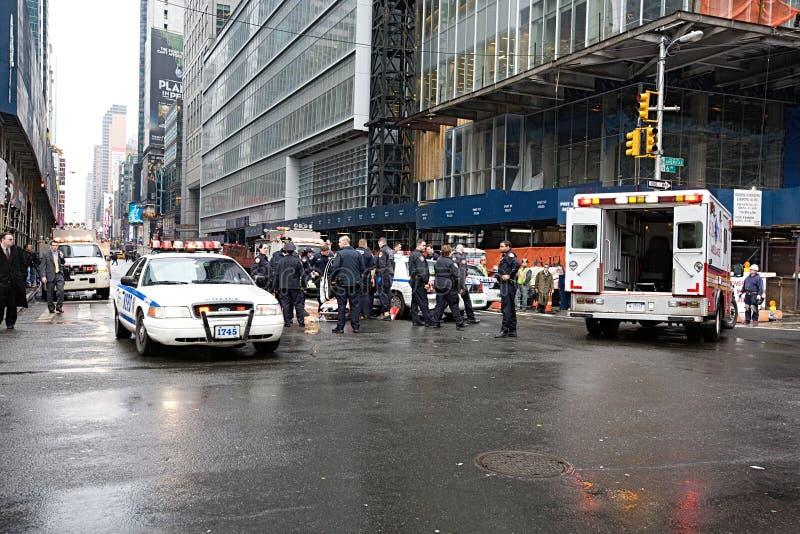 Автомобильная авария полицейской машины в Нью-Йорке стоковые изображения rf