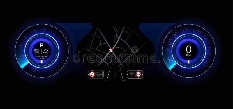 Автомобильная приборная панель будущего Гибридный автомобиль Диагностики и исключение нервных расстройств bluets Стиль Hud голубо бесплатная иллюстрация