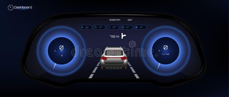Автомобильная приборная панель, футуристический стиль иллюстрация вектора