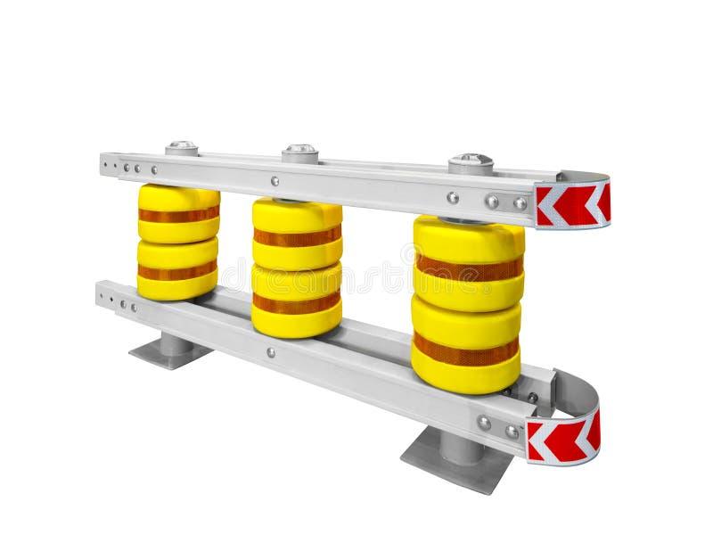 Автомобильный барьер дороги для линии раздела на белой предпосылке стоковые фотографии rf