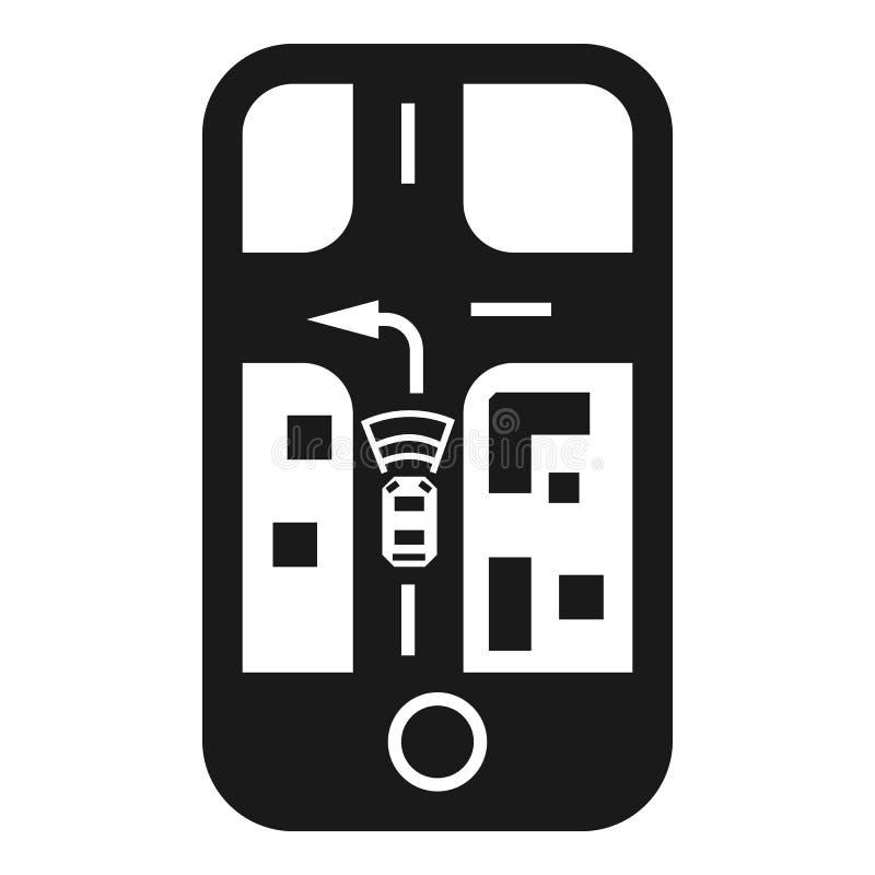 Автомобиль автопилота смартфона отслеживая значок, простой стиль иллюстрация штока