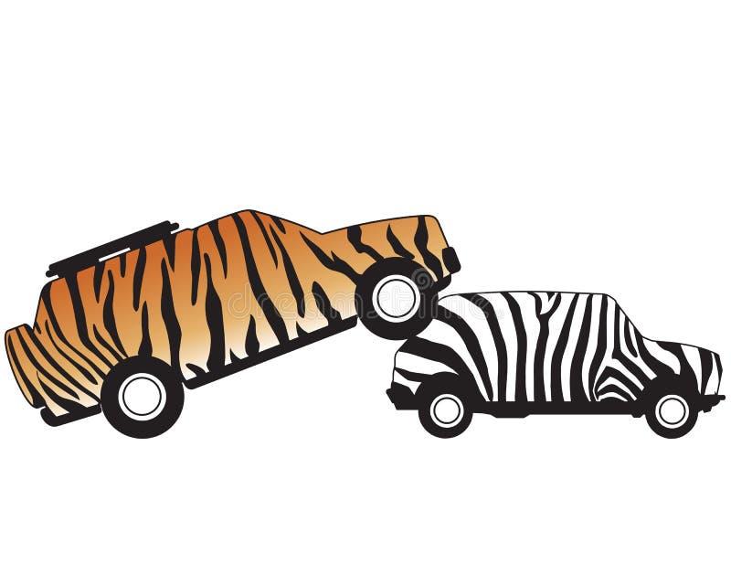 Автомобиль атакуя автомобиль иллюстрация штока