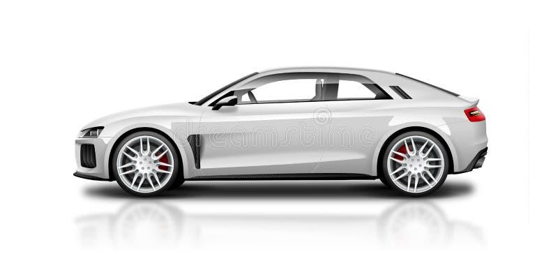 Автомобиль белого Coupe Sporty на белой предпосылке Взгляд со стороны с изолированным путем иллюстрация штока