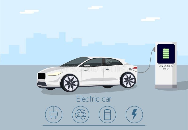 Автомобиль вектора электрический с зарядной станцией стоковое фото rf