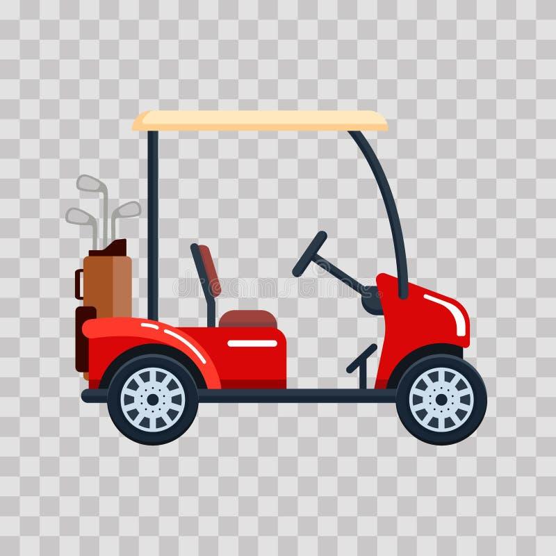 Автомобиль гольфа вектора электрический с сумкой гольф-клуба Переход, vehile на прозрачной предпосылке бесплатная иллюстрация