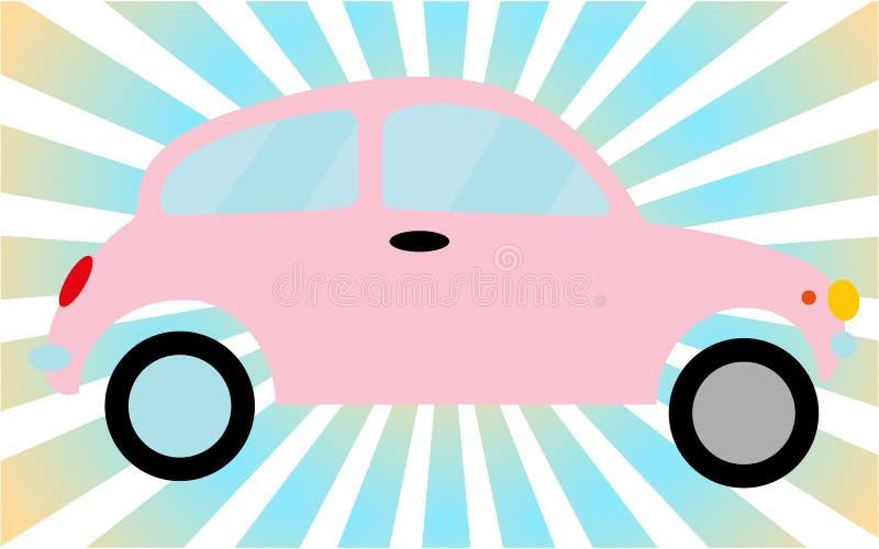 Автомобиль 2-двери розового маленького старого ретро битника винтажный античный, хэтчбек против голубых лучей иллюстрация штока