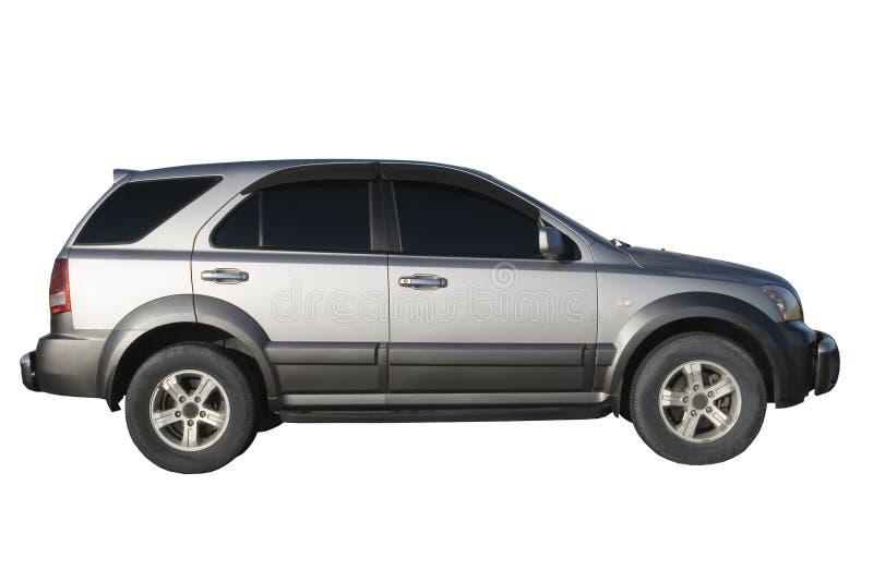 автомобиль изолированный над серебряной белизной стоковое изображение
