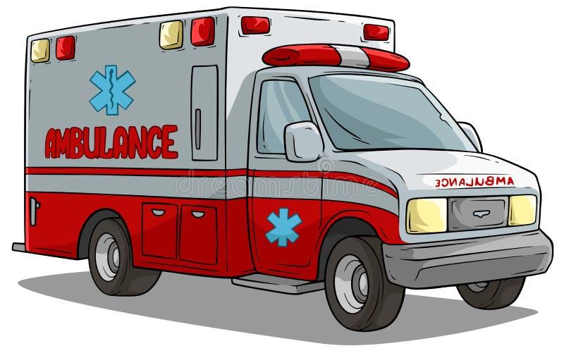 Автомобиль или тележка машины скорой помощи мультфильма аварийный иллюстрация вектора