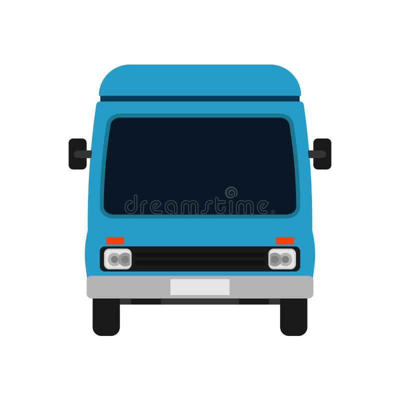Автомобиль иллюстрации вида спереди Van голубой Тележка значка вектора транспорта доставки Переход деловых поездок мультфильма иллюстрация вектора