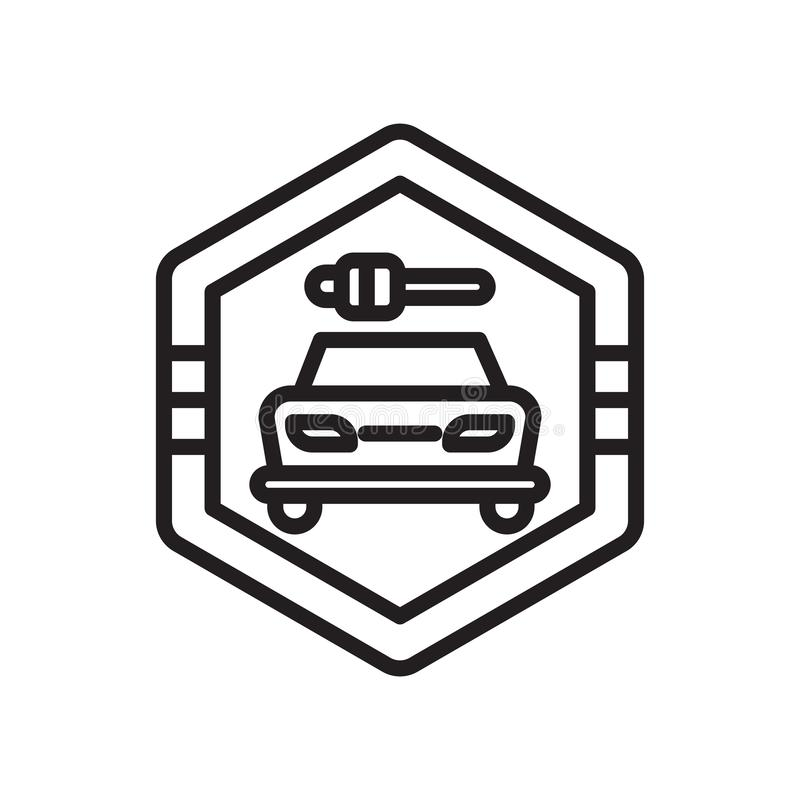 Автомобиль и ключевой сигнал во вращанных квадратных знаке и символе вектора значка изолированные на белой предпосылке, автомобил бесплатная иллюстрация