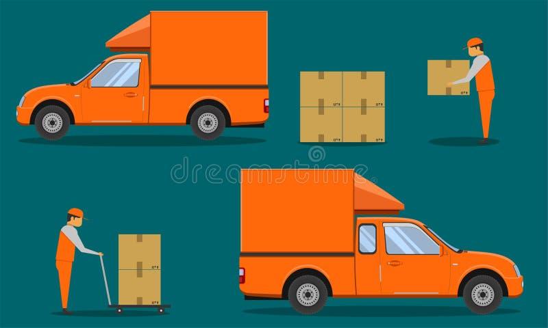 Автомобиль кабины приемистости organge доставки с отверстием человека иллюстрация eps10 вектора клети случая коробки пакуя бесплатная иллюстрация