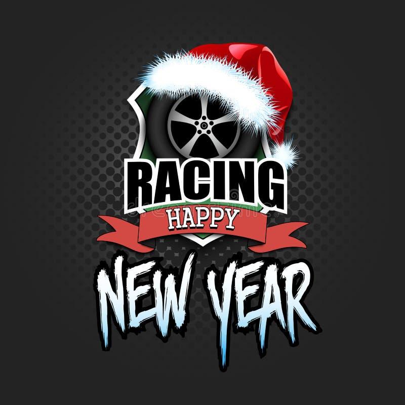 Автомобиль колеса со шляпой santa и счастливым Новым Годом бесплатная иллюстрация