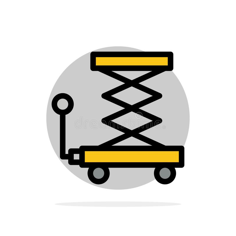Автомобиль, конструкция, подъем, Scissor значок цвета абстрактной предпосылки круга плоский иллюстрация штока
