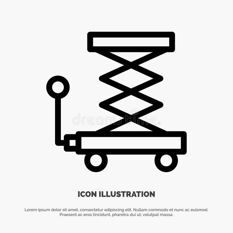 Автомобиль, конструкция, подъем, Scissor линия вектор значка иллюстрация штока