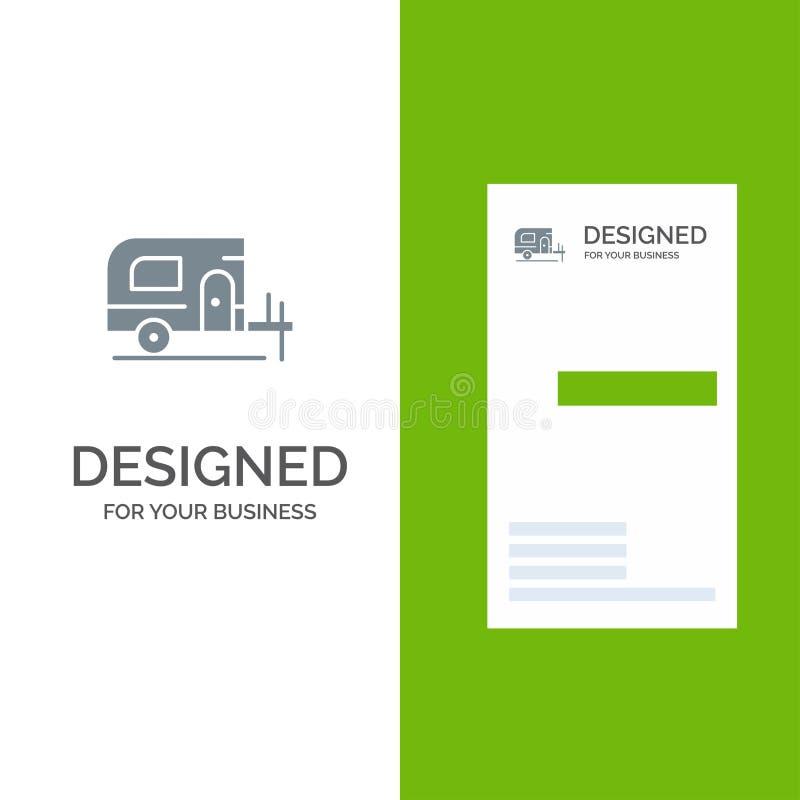 Автомобиль, лагерь, дизайн логотипа весны серые и шаблон визитной карточки иллюстрация штока
