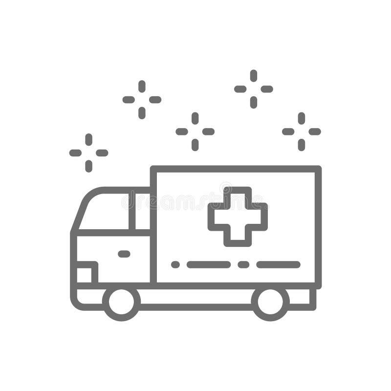 Автомобиль машины скорой помощи, аварийная медицинская тележка, линия перехода значок больницы иллюстрация вектора