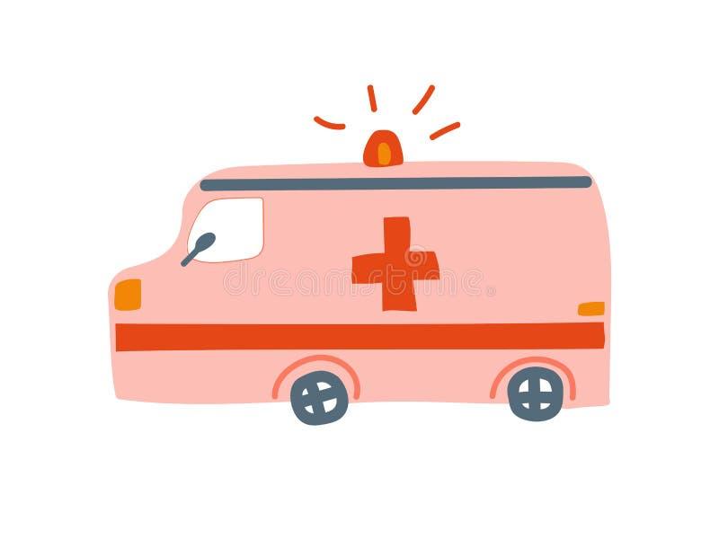 Автомобиль машины скорой помощи, иллюстрация Аварийной ситуации Медицинск Van Мультфильма Вектора бесплатная иллюстрация