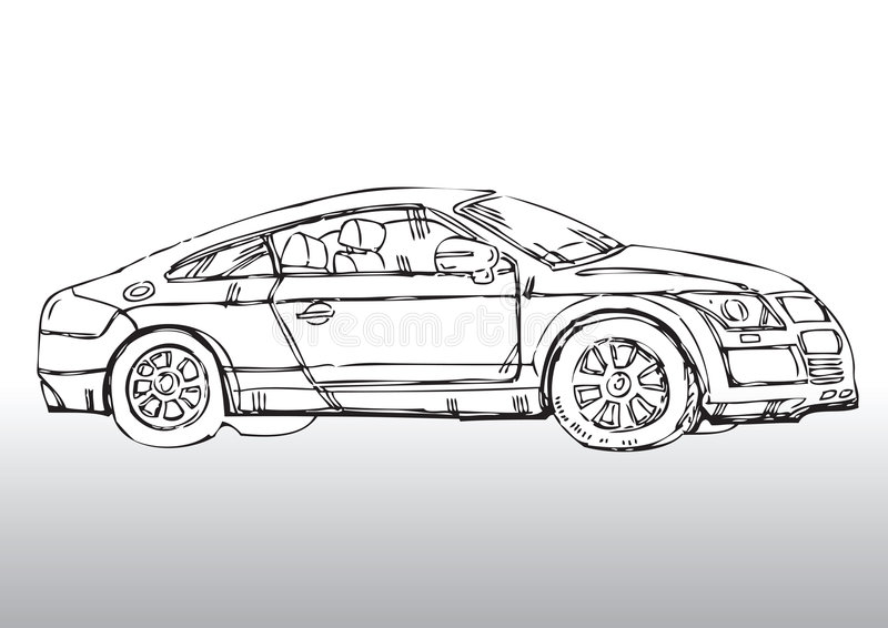Автомобиль нарисованный рукой иллюстрация вектора