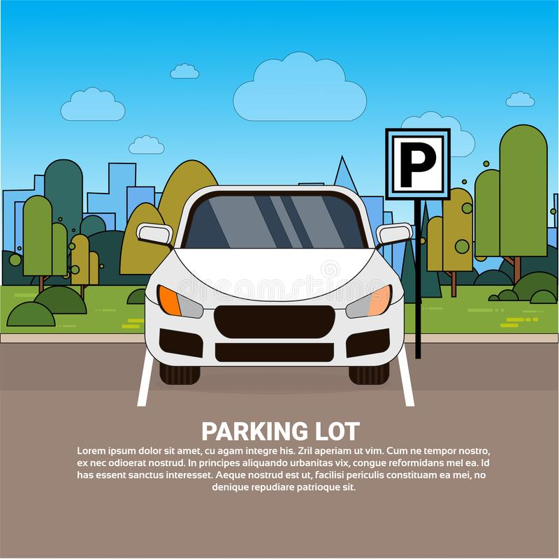 Автомобиль на месте для стоянки над предпосылкой города силуэта бесплатная иллюстрация