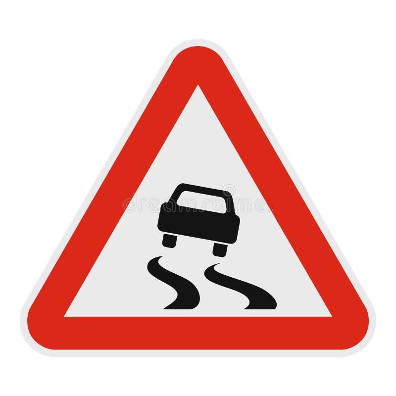 Автомобиль на опасном значке дороги, плоском стиле иллюстрация штока