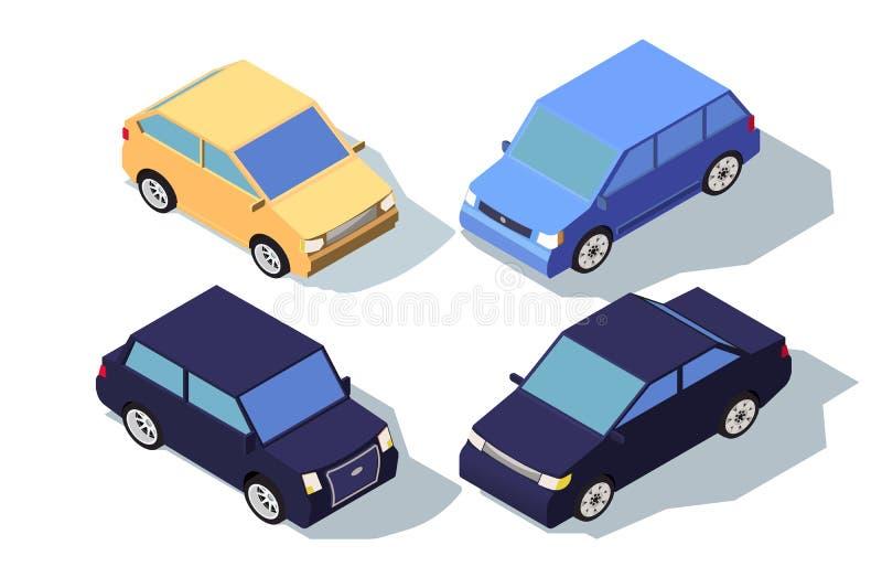 Автомобиль равновеликого вида спереди 3d голубой и желтый классический седана бесплатная иллюстрация