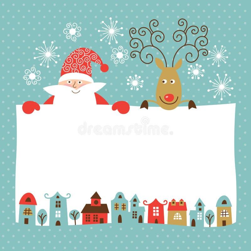 Автомобиль рождества и Новый Год приветствию иллюстрация вектора