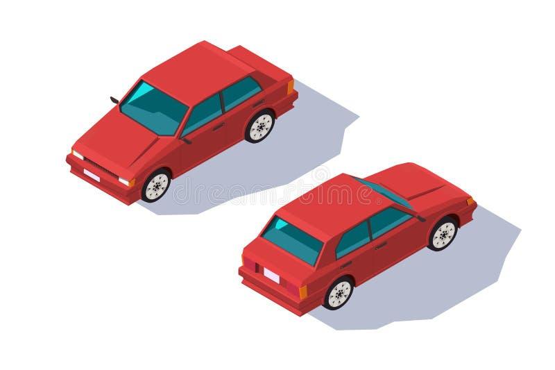 Автомобиль седана равновеликого four-seater 3d красный классический для семьи иллюстрация штока