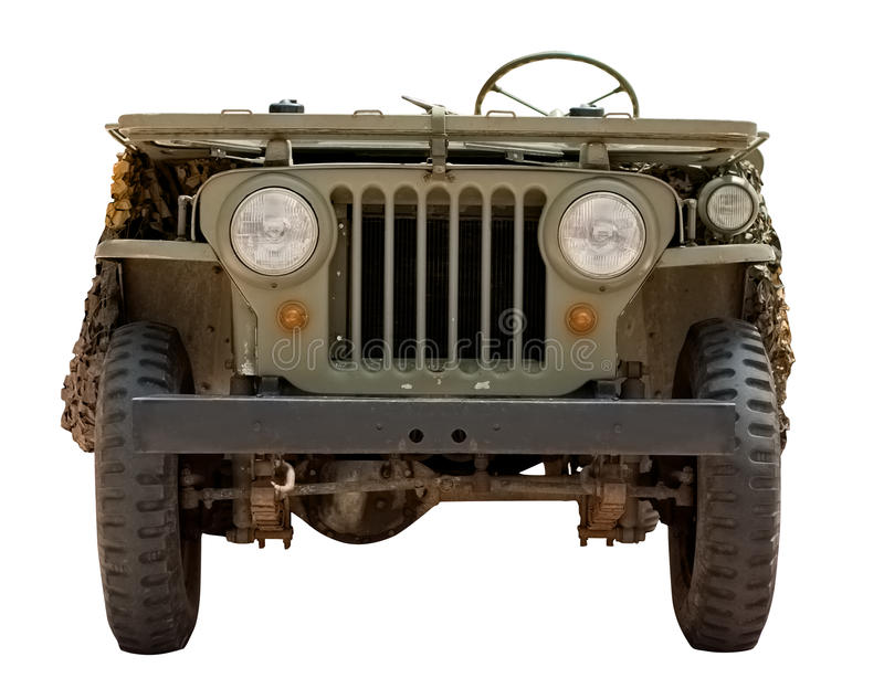 автомобиль 1966 изолировал белизну виллиса воинскую старую стоковое изображение rf
