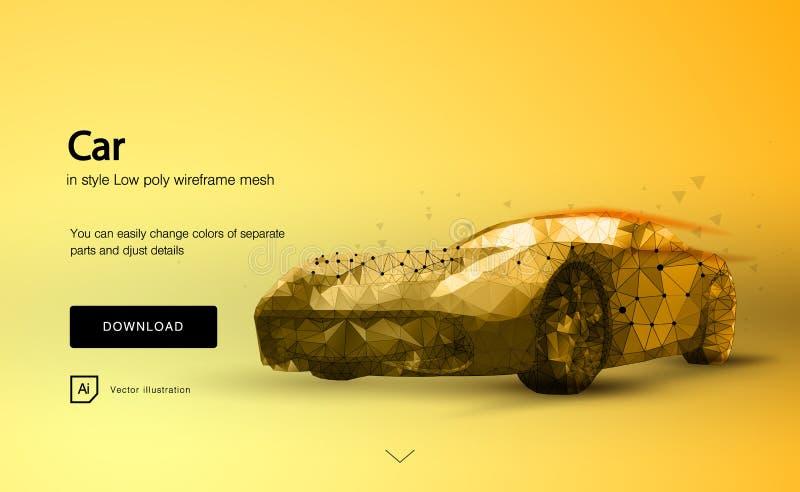 Автомобиль autobahn Спортивная машина с линией полигональным низким уровнем полигона космоса поли с соединяясь точками и линиями  иллюстрация штока